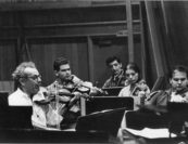 "Sasha would often say ""don't play orchestra, play chamber music."" This 1960s orchestra rehearsal photo with Shmuel Ashkenasi (Vermeer Quartet), Charles Avsharian, Florika Remetier, Jaime Laredo (Kalichstein-Laredo-Robinson Trio), and Arnold Steinhardt (Guarneri Quartet) shows that they must have taken his admonition to heart."