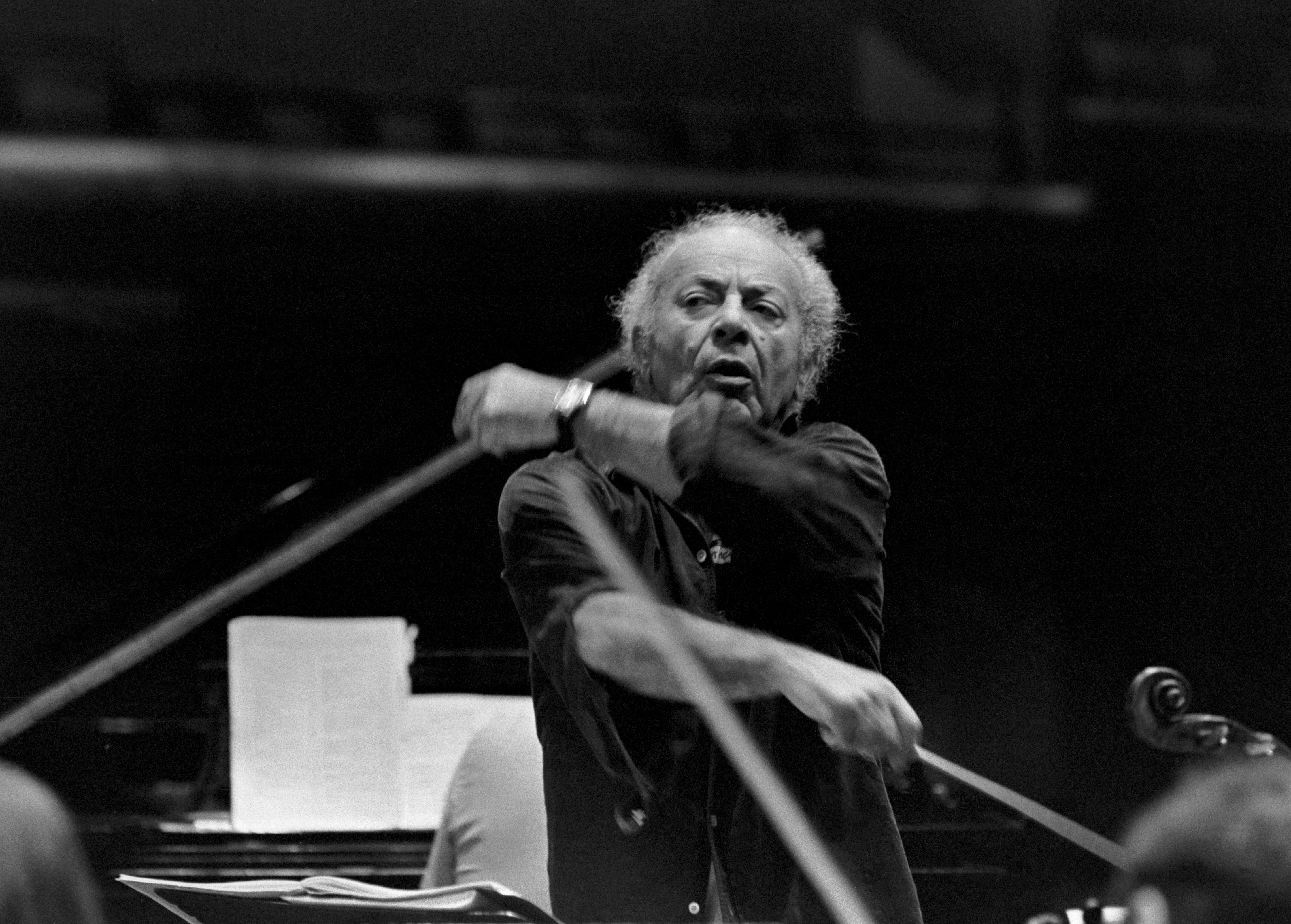 "Schneider conducts the Marlboro orchestra in 1980 | ""Sasha was interesting in his musical approach to things, in how he would conduct or how he would want people to play, always keeping it lively, always keeping it on top of the beat—always go, go, go. I think of him and I just think, lively, aggressive."" -Raymond Benner"