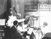 """When we did the famous 'Trout Quintet' there he was sitting in the wings, and it made a difference.  He had an armchair there and he was listening to everything that was going on.  You knew that whatever it is you had to give, you better do it at your very best."" —Philipp Naegele, pictured with Julius Levine, Rudolf Serkin, Leslie Parnas, and Jaime Laredo on the album cover of their recording of the ""Trout"" Quintet for Columbia Masterworks"